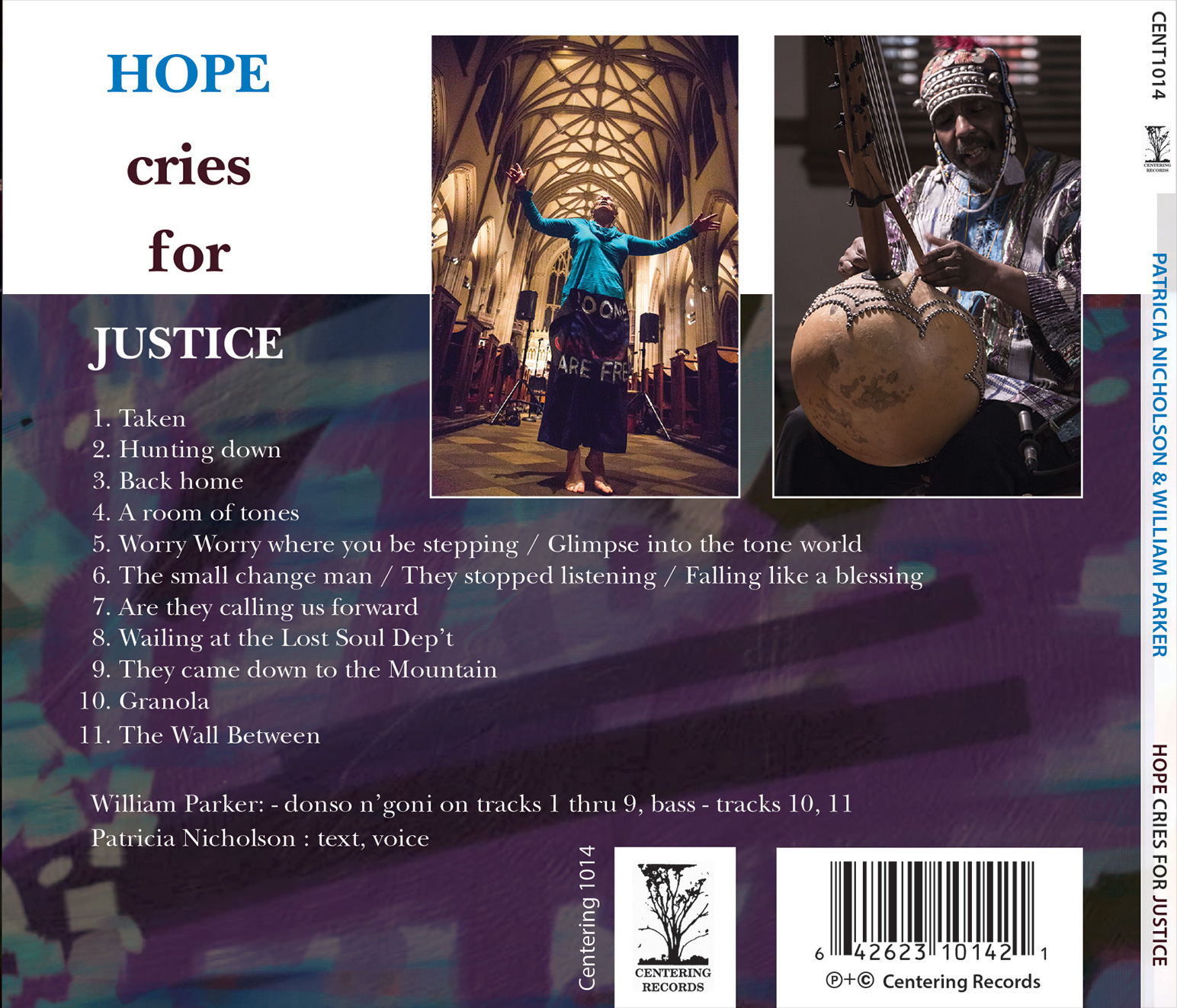 back cover Patrica Nicholson and William Parker's cd Hope Cries For Justice