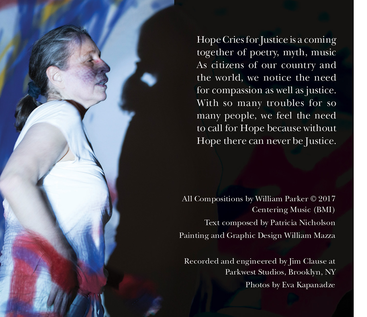 left interior panel of Patrica Nicholson and William Parker's cd Hope Cries For Justice